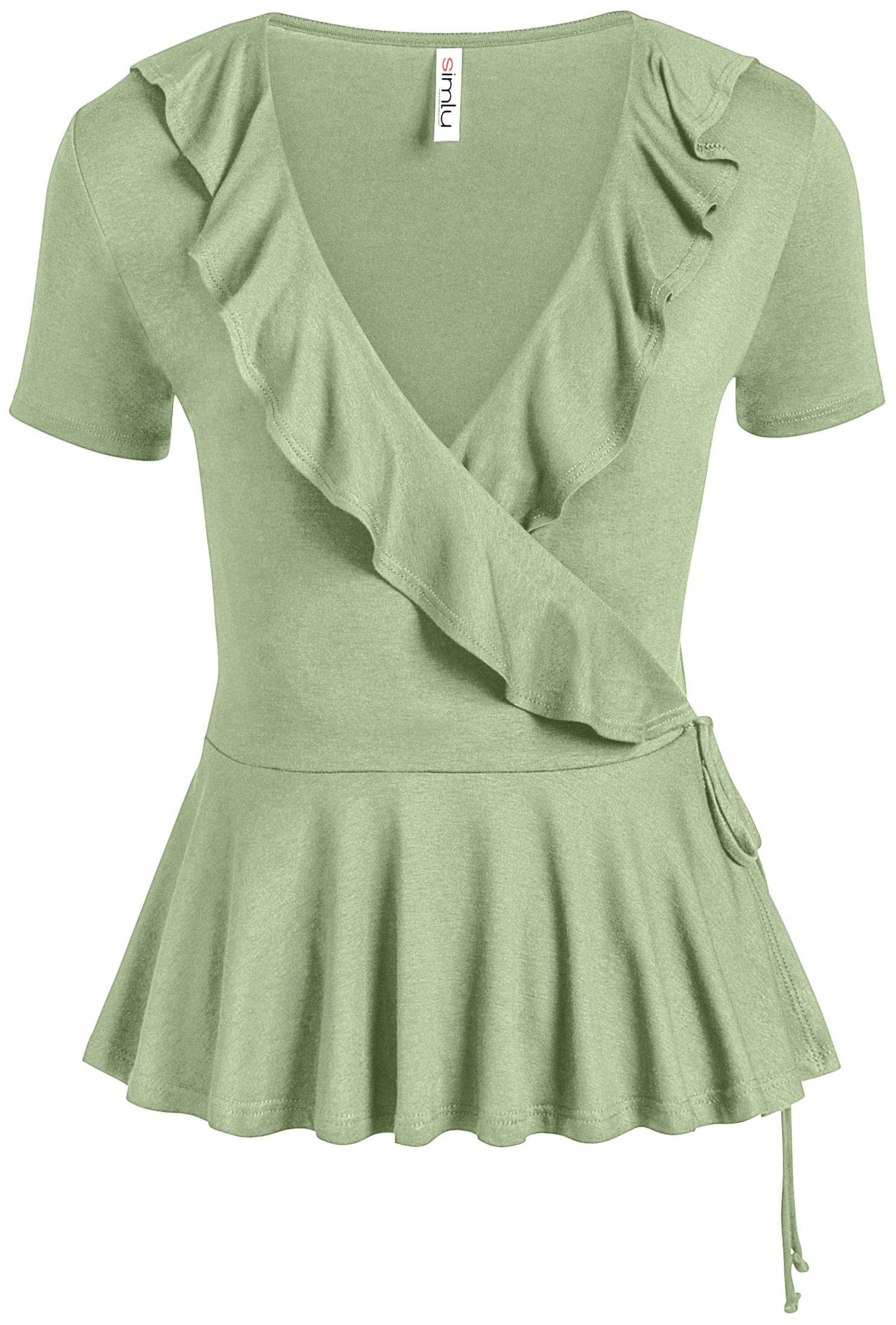 Womens Sage Green Wrap Top V Neck Peplum Blouse Self Tie Ruffle Hem Wrap Top (Size Large US 8-10, Sage)