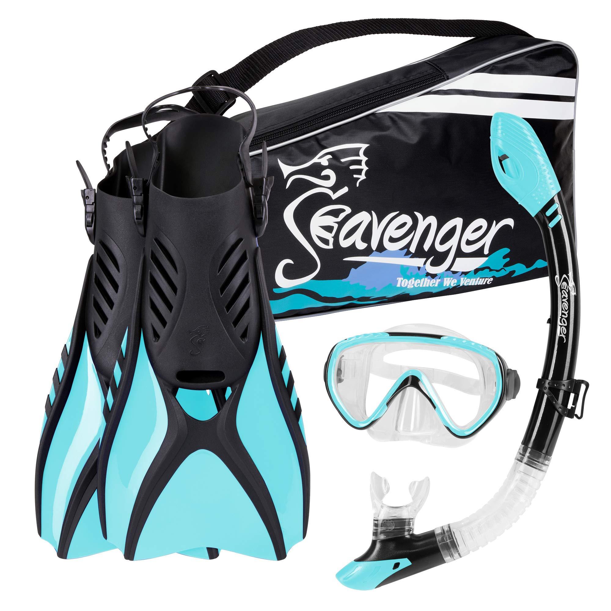 Seavenger Voyager Snorkeling Set | Travel Fins, Snorkel, Mask and Gear Bag for Men and Women (Sky Blue, Small) by Seavenger