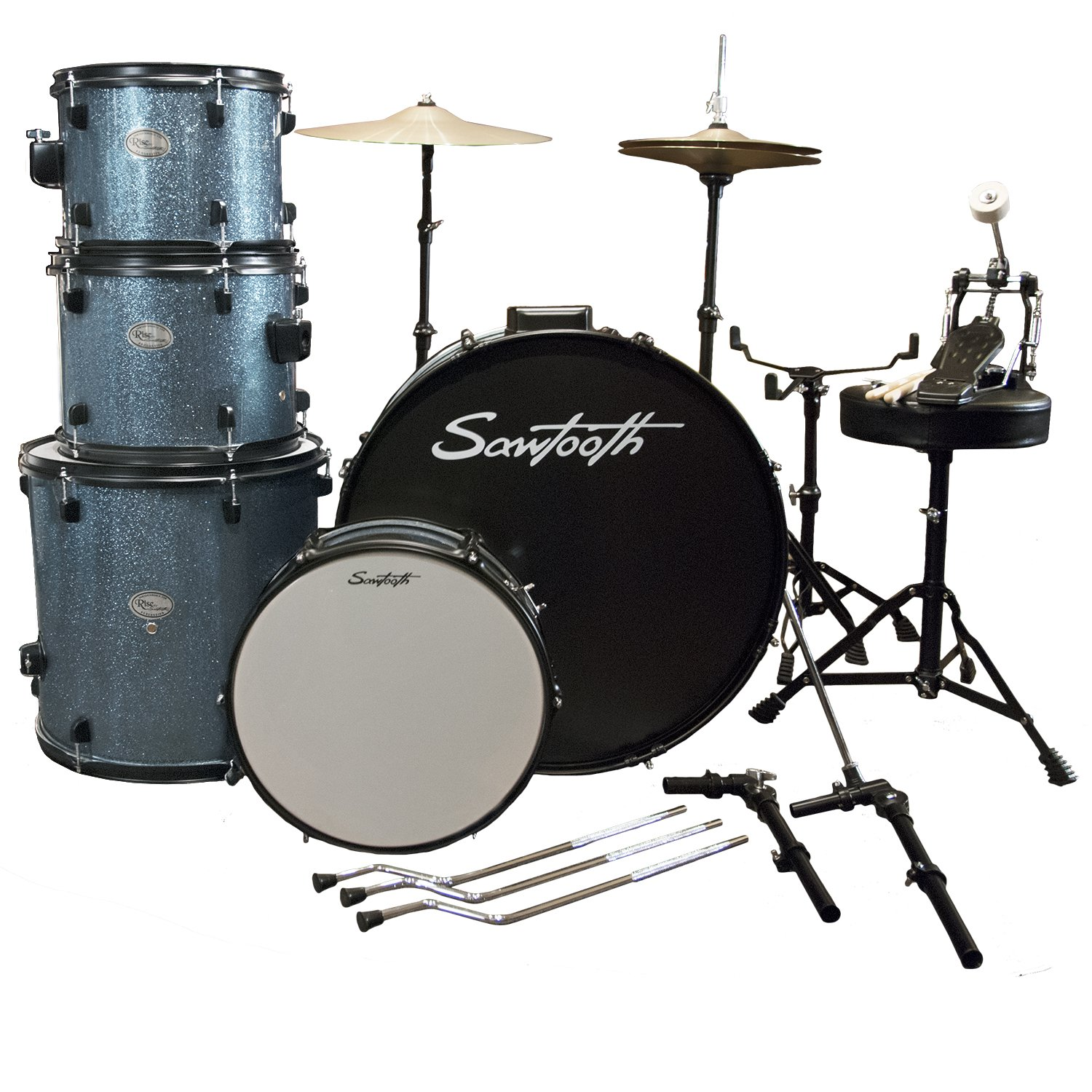 Rise by Sawtooth Full Size Student Drum Set with Hardware and Cymbals, Storm Blue Sparkle by Rise by Sawtooth (Image #3)