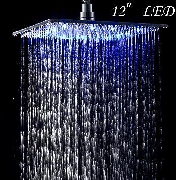 led colors 12 inches top shower head chrome brass rainfall overhead sprayer