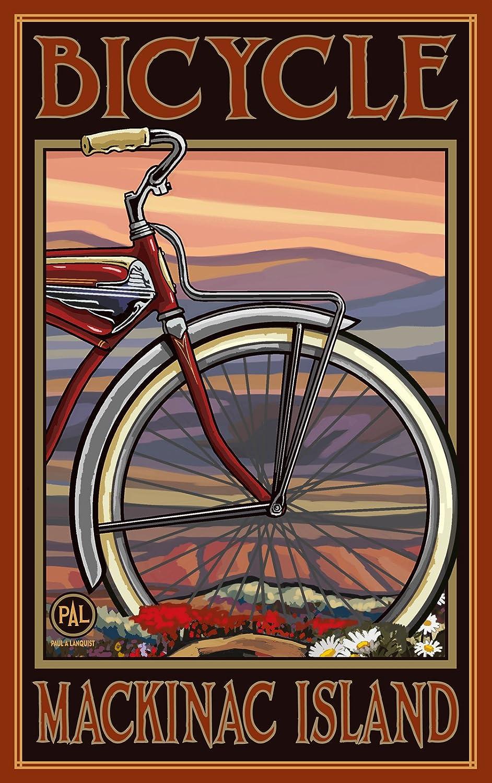 Noroeste Mitad Art Mall Vieja Bicicleta Mackinac Isla Michigan en otoño de Pared Arte por Paul A Lanquist, 11 por 17 Pulgadas: Amazon.es: Hogar