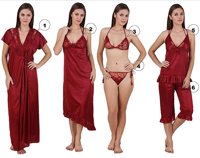 3d2dc3724c Image Unavailable. Image not available for. Colour  Freely Women s Satin  Nighty Set (Maroon ...
