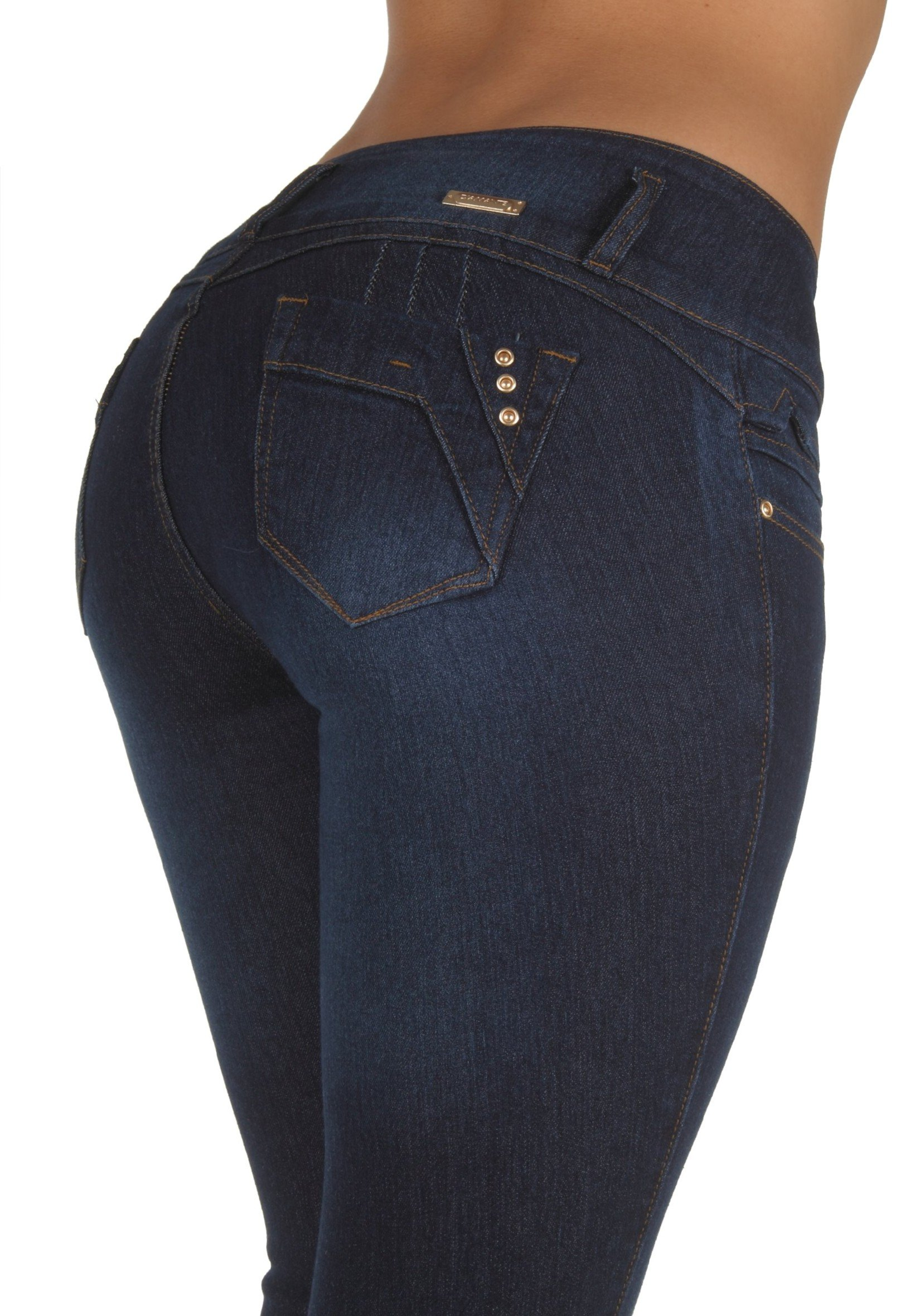 Style N491SK– Colombian Design, Butt Lift, Levanta Cola, Stretch Skinny Jeans in Dark Blue Size 9