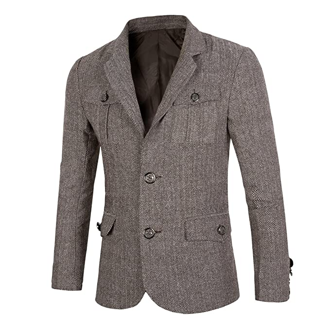 Men's Vintage Style Suits, Classic Suits Genhao Mens Fashion Multi-pocket Single Breasted Casual Suit Jacket  AT vintagedancer.com