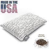 "PineTales, Travel Size (10"" x 14""), Premium Organic Buckwheat Travel Pillow with Washable Super Soft & Skin Friendly Designer Bamboo Pillowcase - Handmade in Phoenix, AZ"