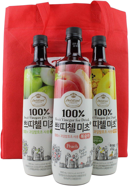 Amazon Korean CJ Petitzel Fruit Vinegar Drink Concentrate 3 Bottle Set Peach Green Apple And Grape 91 Fl Ounces Grocery Gourmet Food