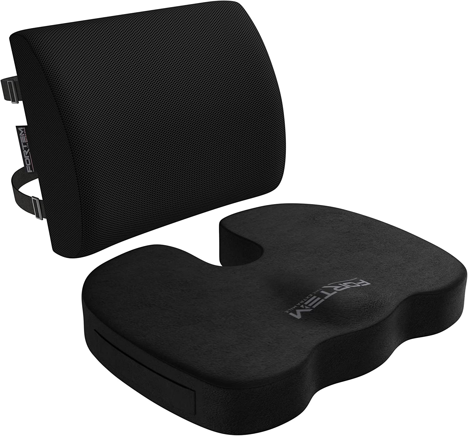 FORTEM Seat Cushion Lumbar Support for Office Chair, Car, Wheelchair, Memory Foam Pillow, Washable Covers