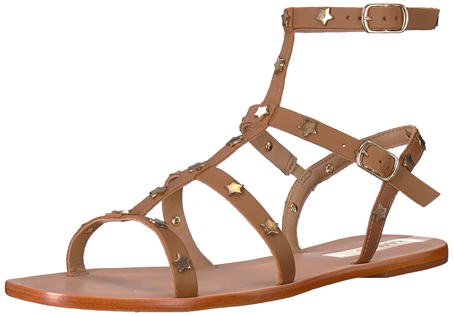 KAANAS Women's Lapa Embellished Gladiator Flat Sandal B077JG2LST 9 B(M) US|Honey