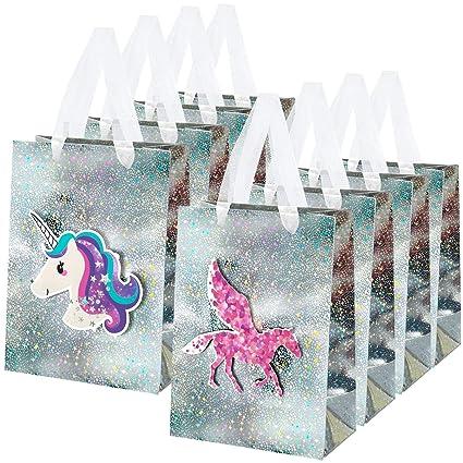 MOOKLIN ROAM 8pcs Bolsas de regalo de Unicornio 3D con asas de cinta, Bolsa de Papel Pegaso con diseños láser para Fiesta bodas cumpleaños Navidad ...