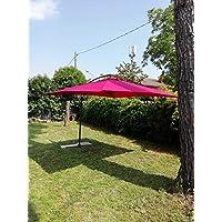 Bars Easyshop Parasol de Jardin carré 3 x 3 m en Aluminium Rouge à Banane décentré Restaurant Bar Local Balcon terrasse extérieur avec Toile en Polyester imperméable