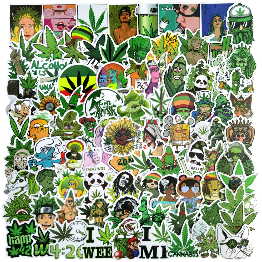 100Pcs Weeds Stickers Waterproof Stickers for Adults Vinyl Decals for Water Bottles