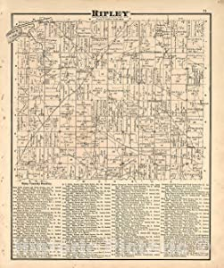 Historic 1875 Map - Caldwell's Atlas of Holmes Co, Ohio - Ripley - Caldwell's Atlas of Holmes County, Ohio 37in x 44in