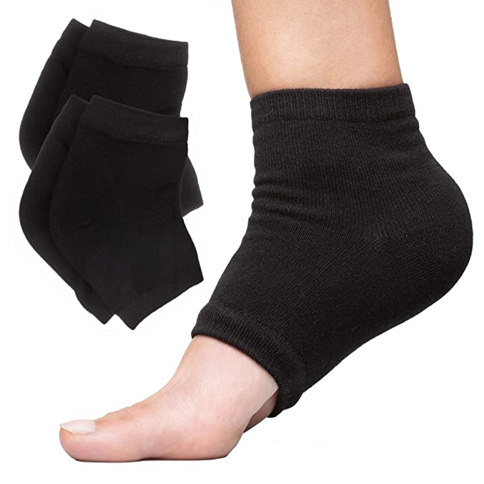 ZenToes Moisturizing Heel Socks 2 Pairs Gel Lined Toeless Spa Socks to Heal and Treat Dry, Cracked Heels While You Sleep (Cotton, Black)   Amazon