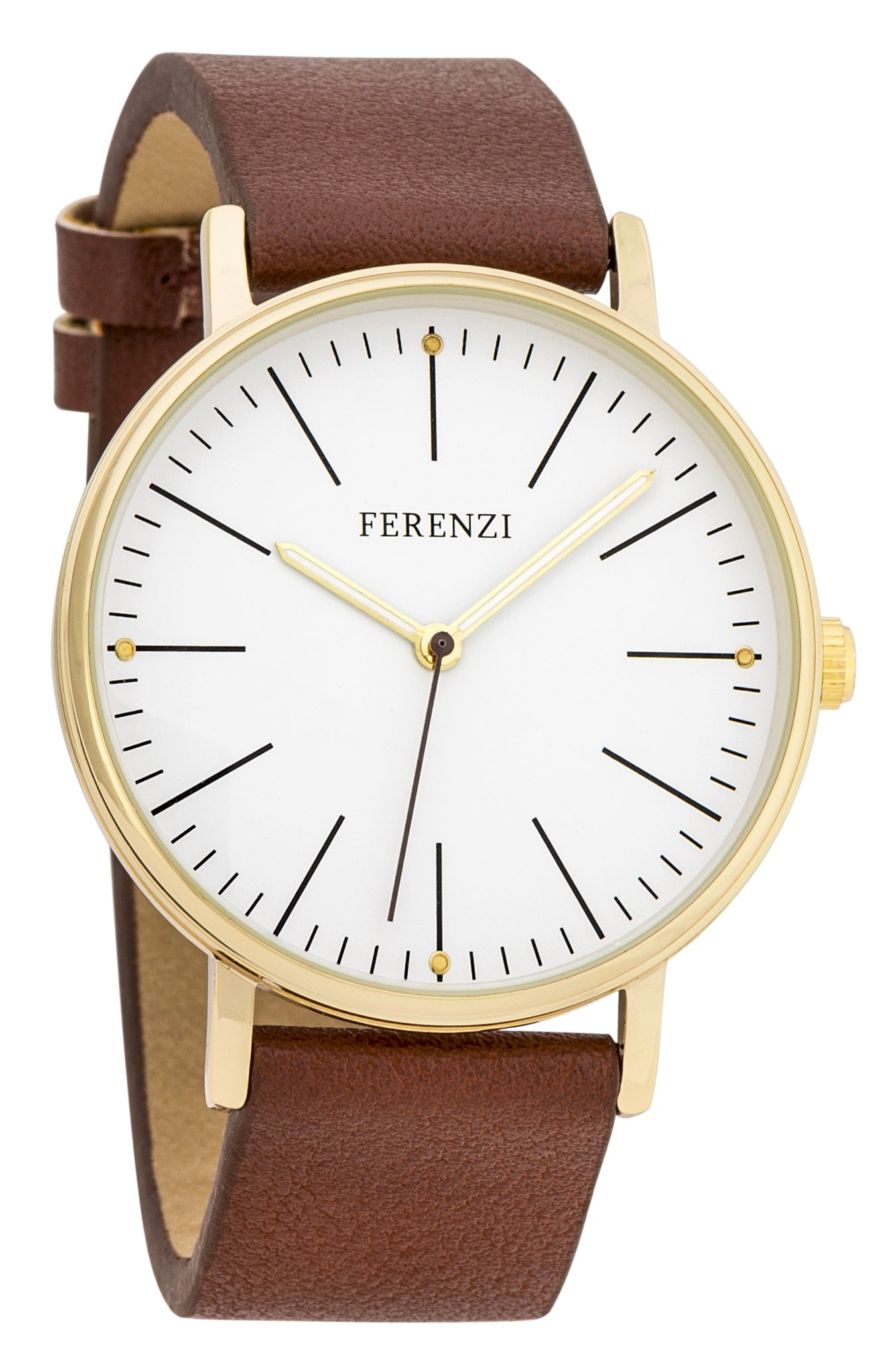 Women's Watches by Ferenzi - Minimalist Gold And Brown PU Leather Watch - Make Every Second Count - FZ17204