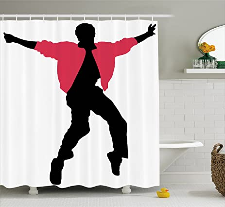 Elvis Presley Shower Curtain By Lunarable American Artist King Celebrity Icon Performer Singer Silhouette