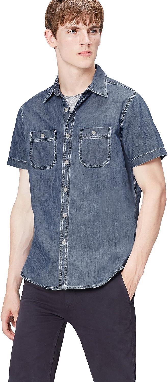Marca Amazon - find. Camisa Vaquera de Manga Corta para Hombre