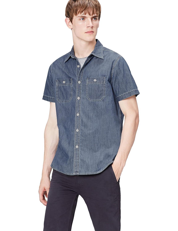 TALLA 48 (Talla del Fabricante: Small). find. Camisa Vaquera de Manga Corta para Hombre