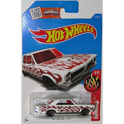 '65 PONTIAC GTO Hot Wheels 2016 HW FLAMES Series White GTO 1:64 Scale Collectible Die Cast Metal Toy Car Model #9/10 on International Long Card: Toys & Games