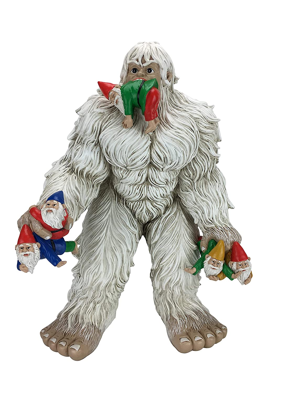 GlitZGlam Large Miniature Yeti and Gnomes for The Fairy Garden. A Large Garden Gnome Figurine (13.25 Inch High) and a Fairy Garden Accessory