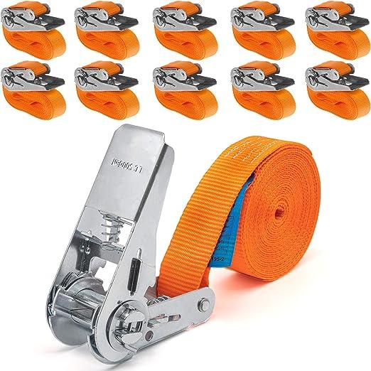 Industrie Planet 10 Stück 800kg 4m Spanngurte Mit Ratsche Einteilig 1 Teilig Zurrgurte Ratschengurte 25mm Orange 800 Dan 0 8t Auto