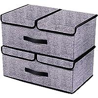 homyfort Boîte de Rangement Pliable avec Couvercle, Cube, Boîte Range pour Vêtement, Décoration, sous-vêtements, Jouets, Magazine, 50 x 30 x 20 cm