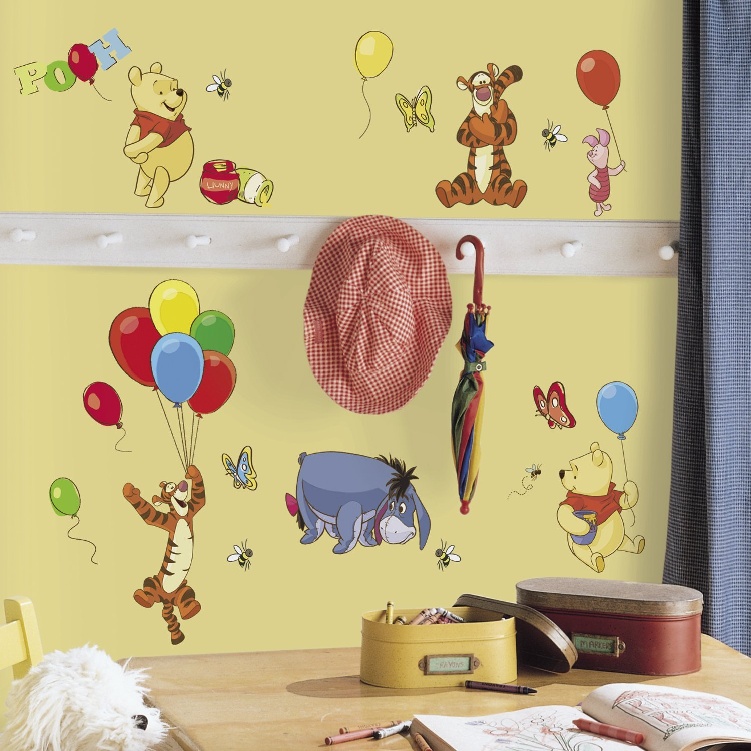 Amazon.com: Roommates Rmk1498Scs Pooh And Friends Peel & Stick Wall ...