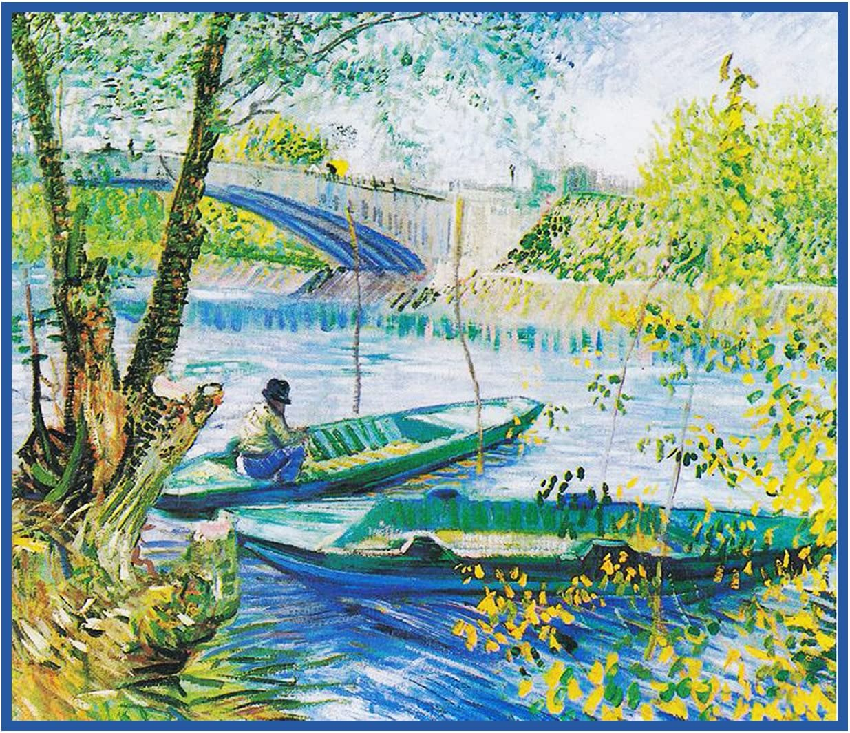 Orenco Originals Angler Boat Pont de Clichy Bridge Van Gogh Counted Cross Stitch Pattern