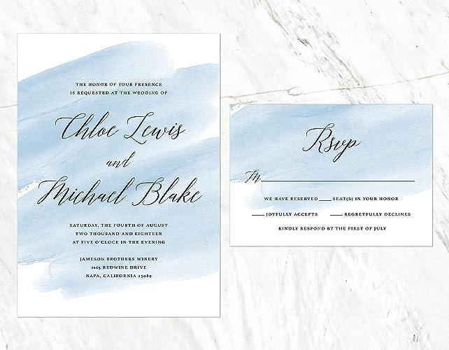 Amazon Com Dusty Blue Wedding Invitation Dusty Blue Watercolor