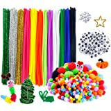 Caydo 600 Pieces Pipe Cleaners Set, Including 120 Pieces 12 Colors Pipe Cleaners, 360 Pieces 6 Size Pom Poms and 120 Pieces 4 Size Wiggle Googly Eyes for Craft DIY Art Supplies