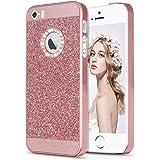 iPhone SE 5 5s ケース,Imikoko iPhone5s/5 /SE ケースアイフォン 5 5s SE case カバー cover スマホケース キラキラ ラメ入り ストーン グリッター ハードケース (Rose Gold)