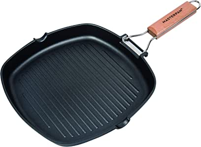 "MasterPan Non-Stick Grill Pan Wooden, 8"", Folding Handles"