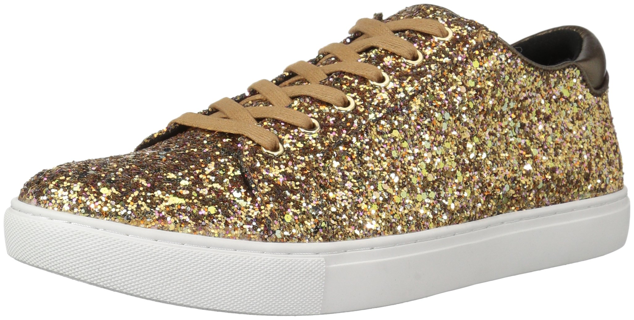 Kenneth Cole New York Women's Kam Techni-Cole Lace up Glitter Fashion Sneaker, Bronze, 9 M US