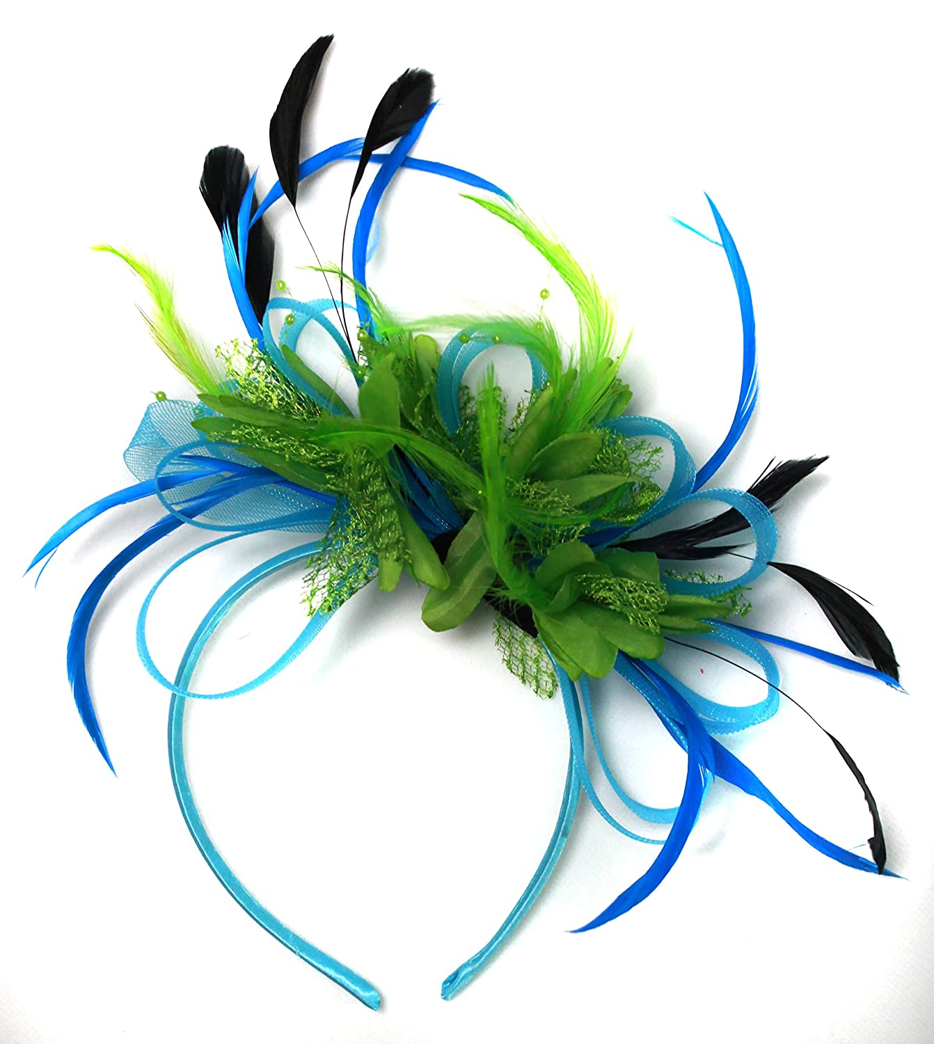 Aqua Cornflower Blue and Green Net Hoop Feather Hair Fascinator Headband  Wedding Royal Ascot Races at Amazon Women s Clothing store  c49bba19407
