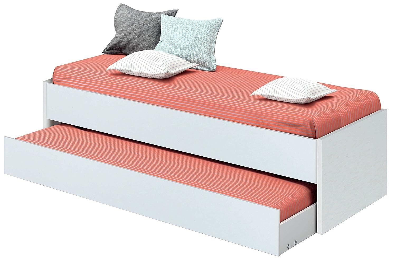 Cama nido de dormitorio juvenil color blanco brillo, somier inferior ...