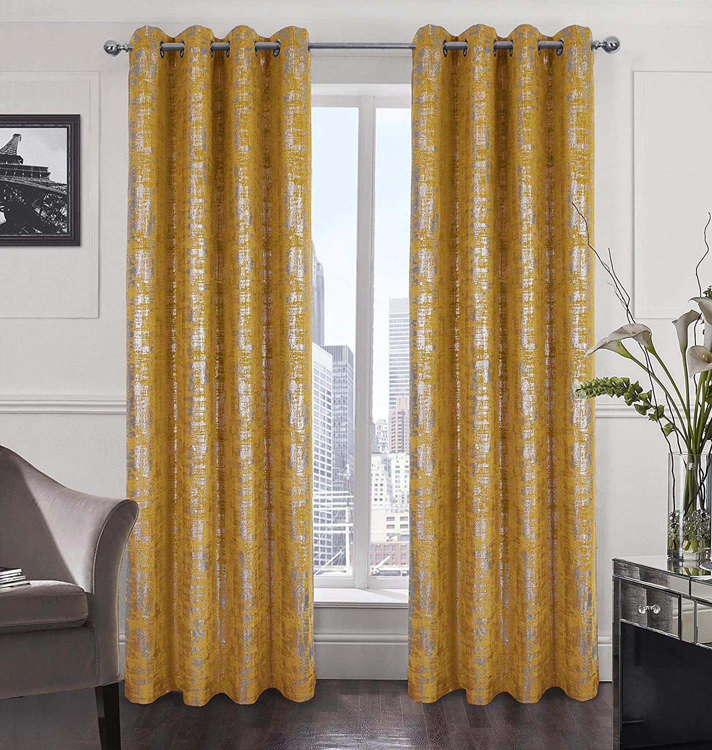 Alexandra Cole Max 50% OFF Yellow Soft Velvet Length Inch Albuquerque Mall 95 Curtains Luxury