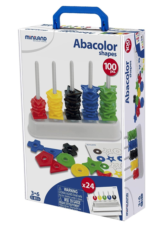 Miniland Educational 95270 - Maletín, 100 formas, 12 actividades Iniciación al lenguaje Juegos de matemáticas Juguetes educativos colores