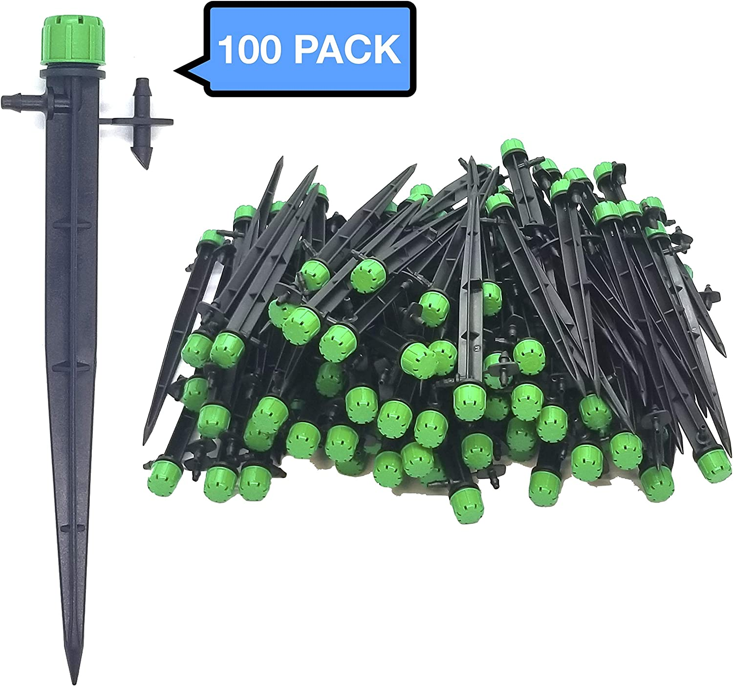 "(100-PACK) - 1/4"" Inch Universal 360 Degree Drip Emitter auf 6"" Stake - Adjustable Flow 0-18.5 GPH passen 1/4 (4-7mm) Drip Irrigation Tubing - Professional Grade Drippers for Drip Irrigation"
