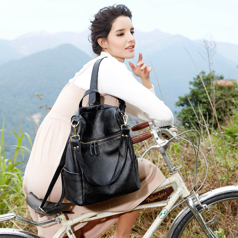 BOYATU Convertible Genuine Leather Backpack Purse for Women Fashion Travel Bag (Black) by BOYATU (Image #2)