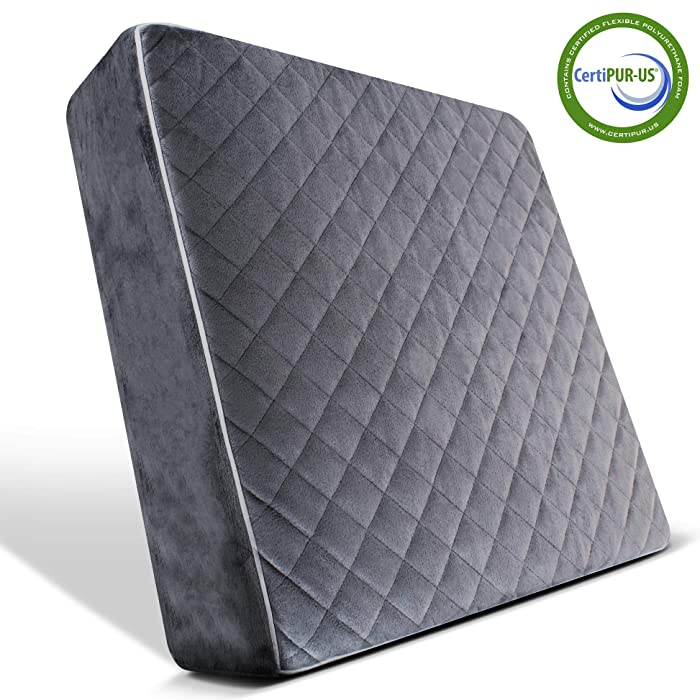 Comfortanza Memory Foam Chair Seat Cushion - 16x16x3 Square Thick Foam Pads for Wooden Kitchen Dining Chairs, Office & Car Seat - Booster Cushion - Tailbone & Back Pain Relief - Dark Gray