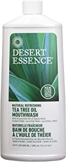 product image for Desert Essence Tea Tree Oil Mouthwash - 16 Fl Oz - Pack of 2 - Natural Refreshing - Spearmint Flavor - Helps Reduce Plaque Buildup - Refreshes Mouth & Gums - Vitamin C - Oral Care - No Parabens
