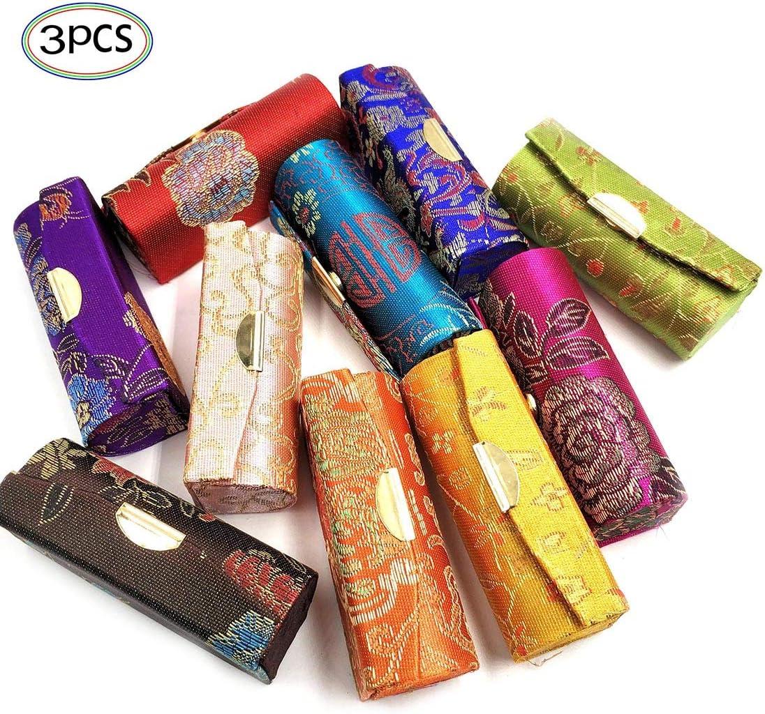 Estuche de lápiz labial con espejo 3 piezas de colores al azar titular de lápiz labial con patrón de flores de seda estilo vintage chino portátil lápiz labial bolsa regalos para niñas