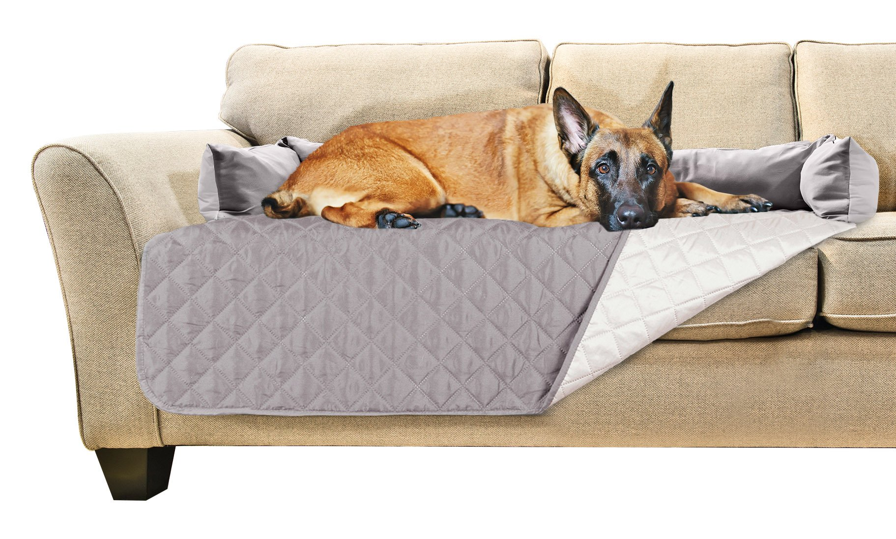 Furhaven Pet Sofa Buddy Furniture Cover Protector Pet Bed for Dogs and Cats, X-Large, Gray/Mist
