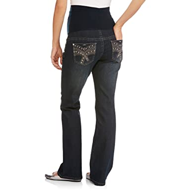 f3f2e18ce22cb Denim Diva Maternity Full-Panel Bling Pocket Bootcut Jeans (X-Large, Denim