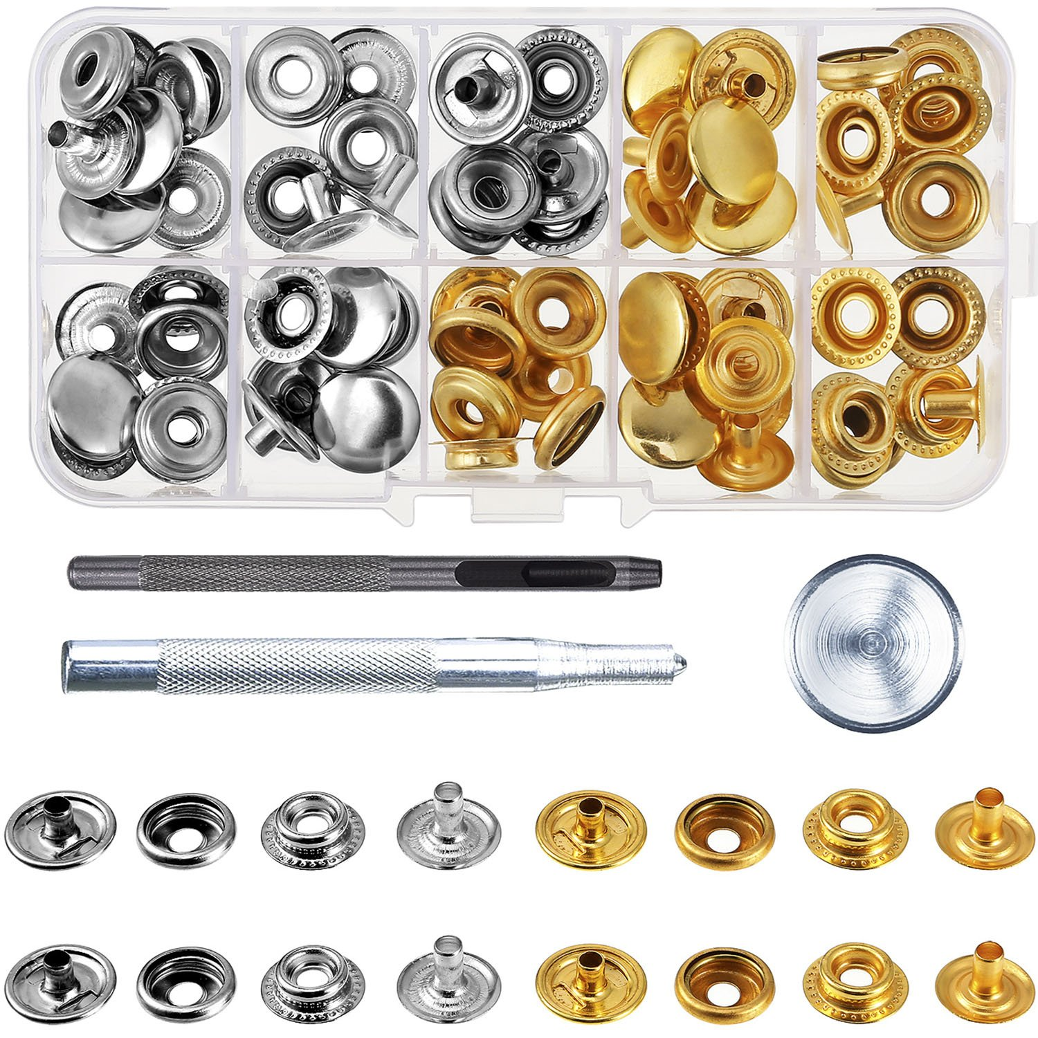 20 Set Press Studs Snap Fasteners No Sewing Clothing Snaps Button with  Fixing Tool for Fabric, Leather Craft (15 mm)