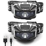 Foxelli LED Headlamp Rechargeable – Ultralight USB Rechargeable Headlamp Flashlight for Adults & Kids, Waterproof Head Lamp w
