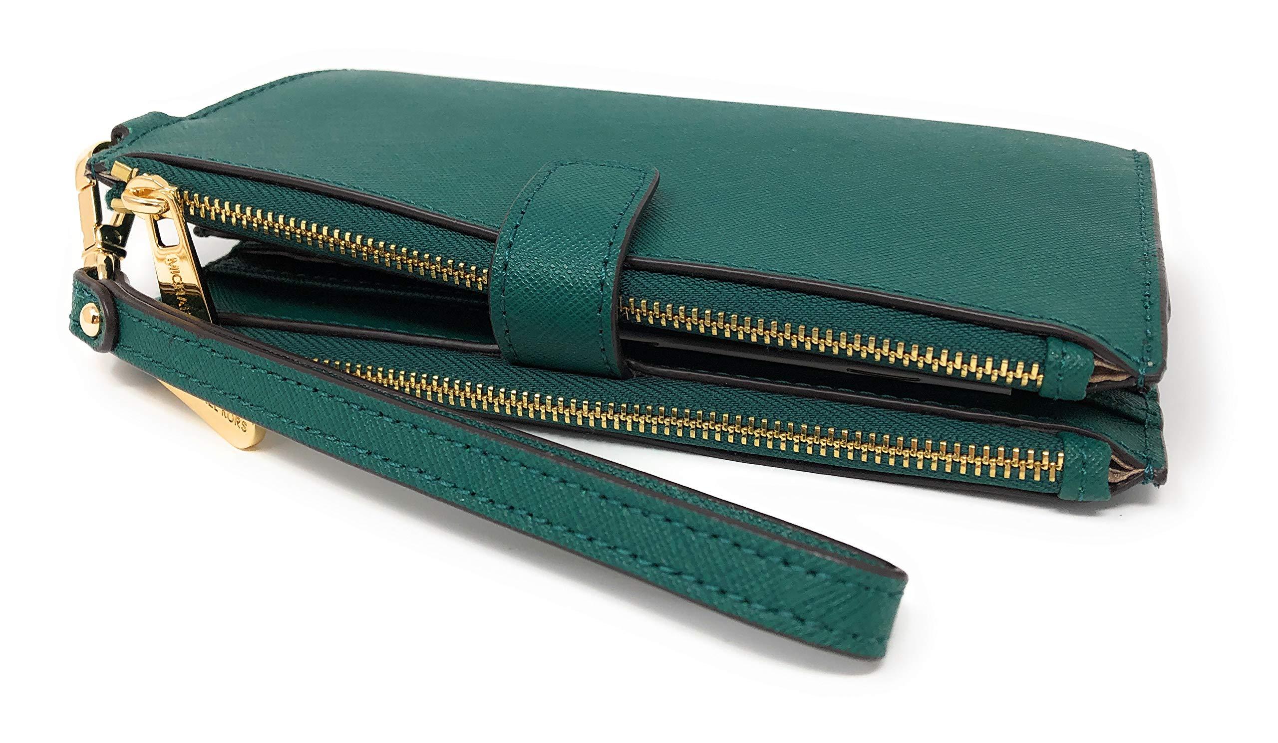 Michael Kors Jet Set Travel Double Zip Saffiano Leather Wristlet Wallet in Emerald by Michael Kors (Image #3)
