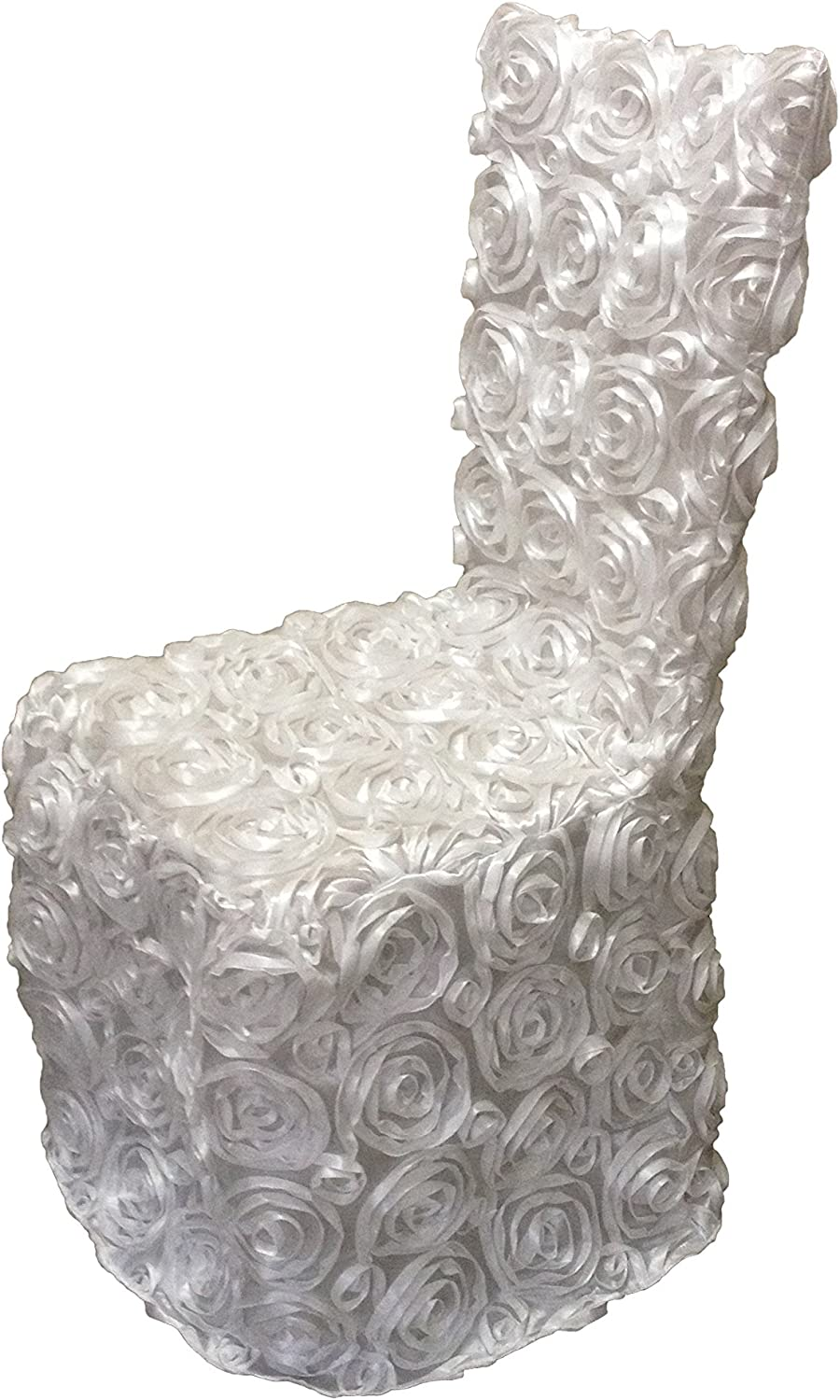 Luchuan White Rosette Banquet Chair Cover for Wedding