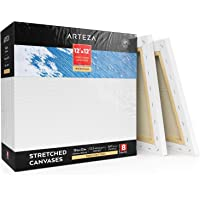 """ARTEZA 12x12"""" Stretched White Blank Square Canvas, Bulk Pack of 8, Primed, 100% Cotton, Premium - 8 Pack"""