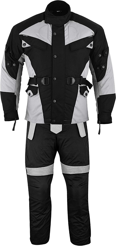 48 Noir//Gris Clair German Wear Kombi Cordura Textiles Veste de Moto et Pantalon de Moto