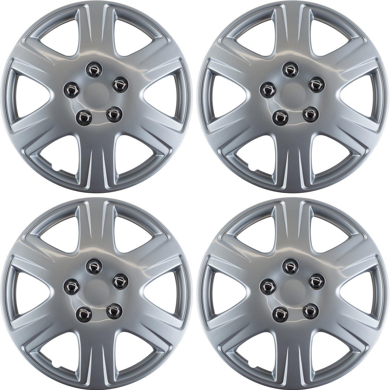 OxGord Wheel Covers, Hub Caps Silver Rim Cover